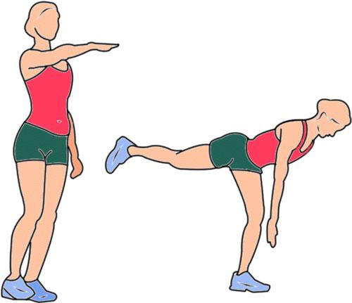 Горизонт или мах назад. Это упражнение заставляет большинство мышц напрягаться