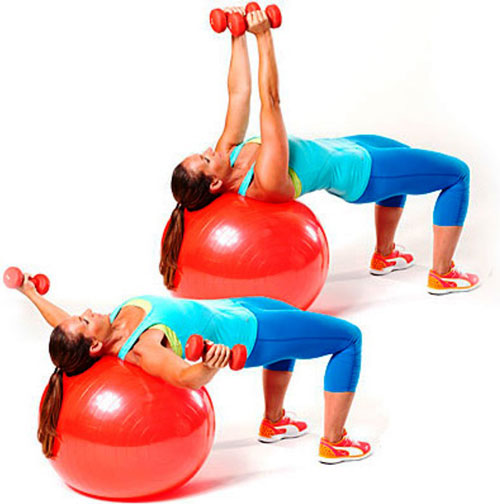 Разводка гантелей в стороны – это эффективное упражнение, позволяющее добиться нужного результата. В данном случае используется гимнастический мяч